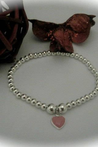 Sterling Silver Bead & pink enamel heart Charm Stretch Bead Bracelet Daughter Girl