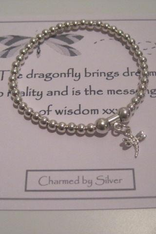 Sterling Silver Dragonfly Charm Stretch Bead Bracelet