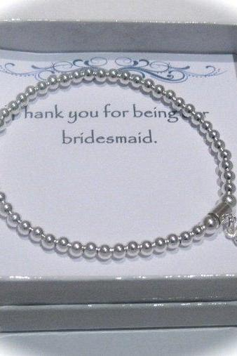 Serenity Bridesmaid - Sterling Silver puffed heart and stamped heart stretch bead Bracelet