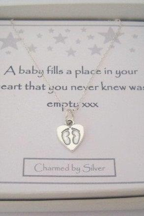 Sterling Silver Baby Footprints Charm Necklace - a perfect gift for a new Mom