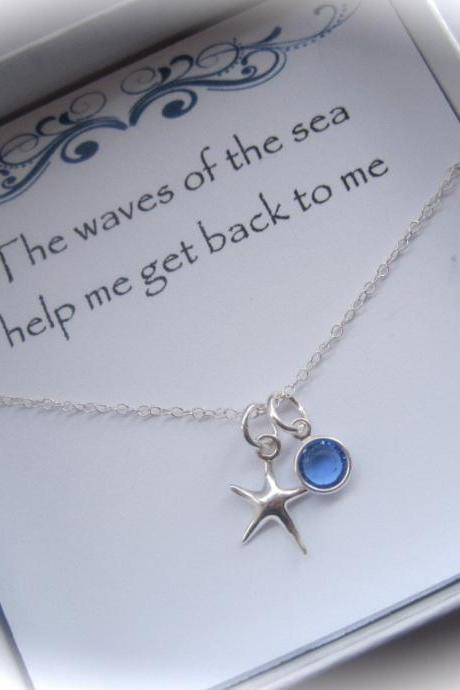 Sterling Silver Starfish and Coloured Birthstone Swarovski Crystal Necklace