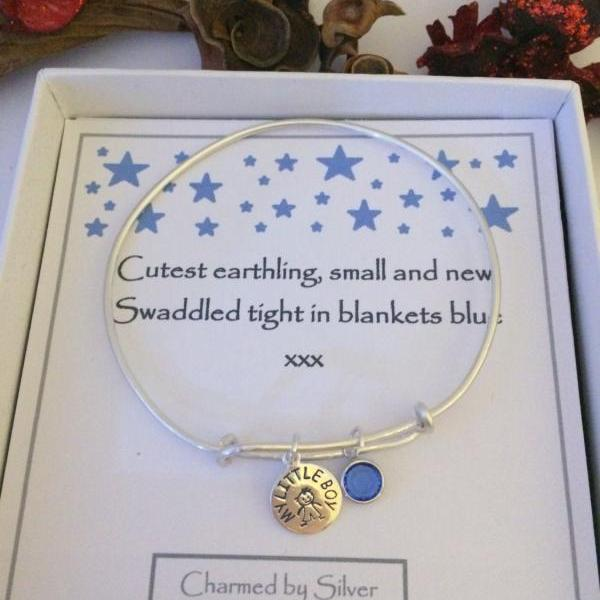 Sterling Silver Hand Stamped My Little Boy & Birthstone Extendable Bangle - perfect for a mum